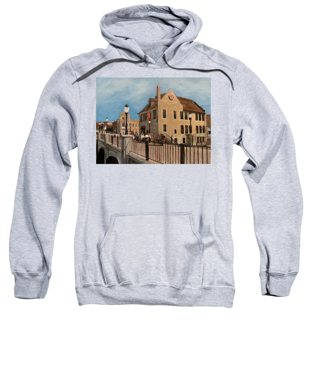 Milwaukee Sweatshirt featuring the mixed media Cafe Hollander 2 by Anita Burgermeister