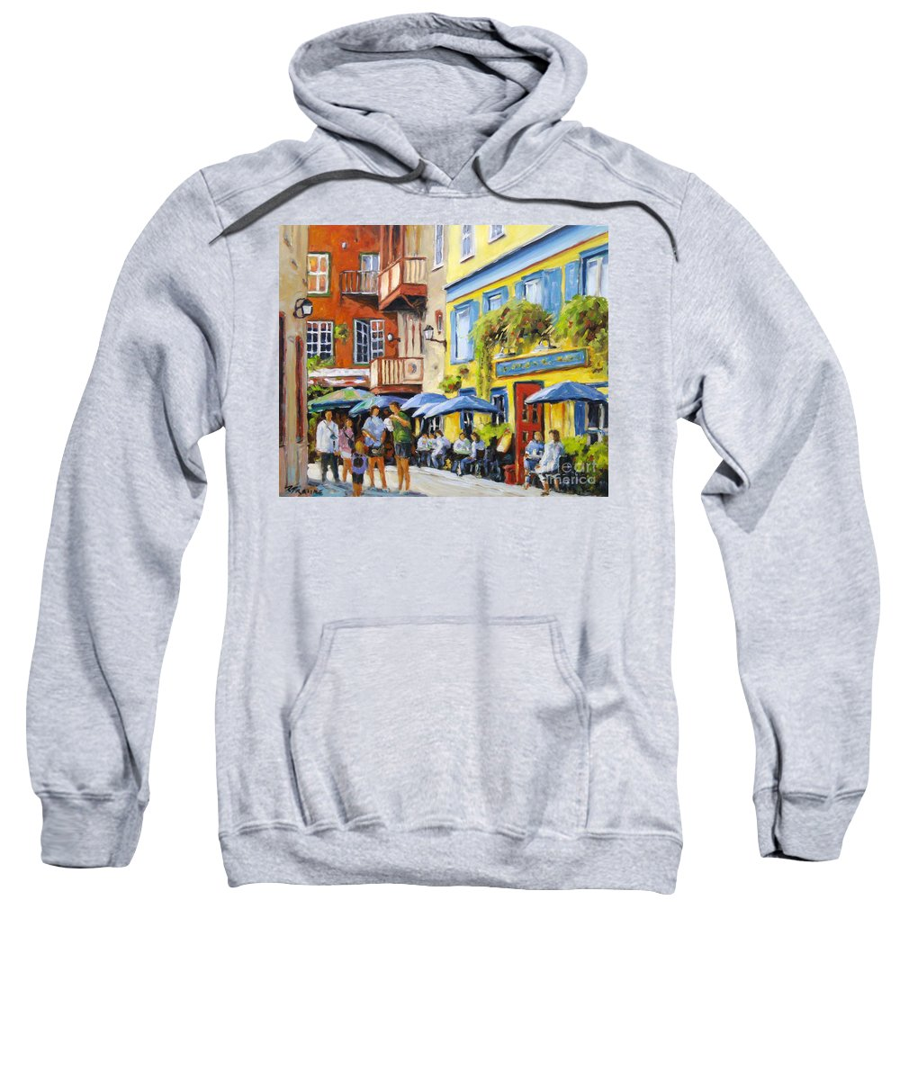 Balcony Sweatshirt featuring the painting Cafe In The Old Quebec by Richard T Pranke