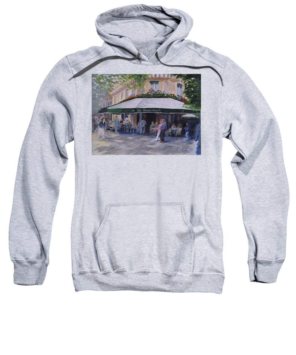 Cafe Magots Sweatshirt featuring the painting Cafe Magots by Jay Johnson