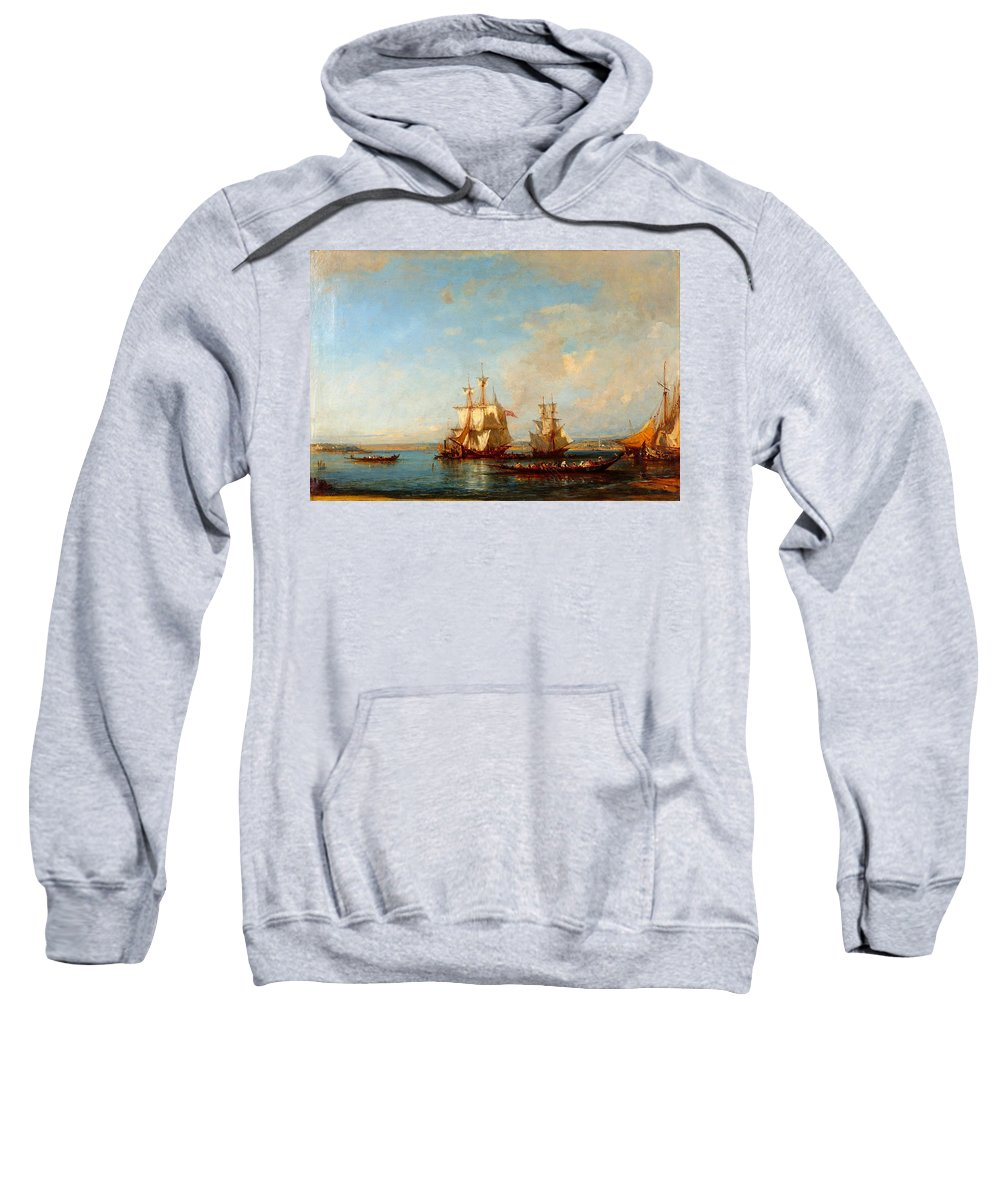 Felix Ziem Sweatshirt featuring the painting Caiques And Sailboats At The Bosphorus by Felix Ziem