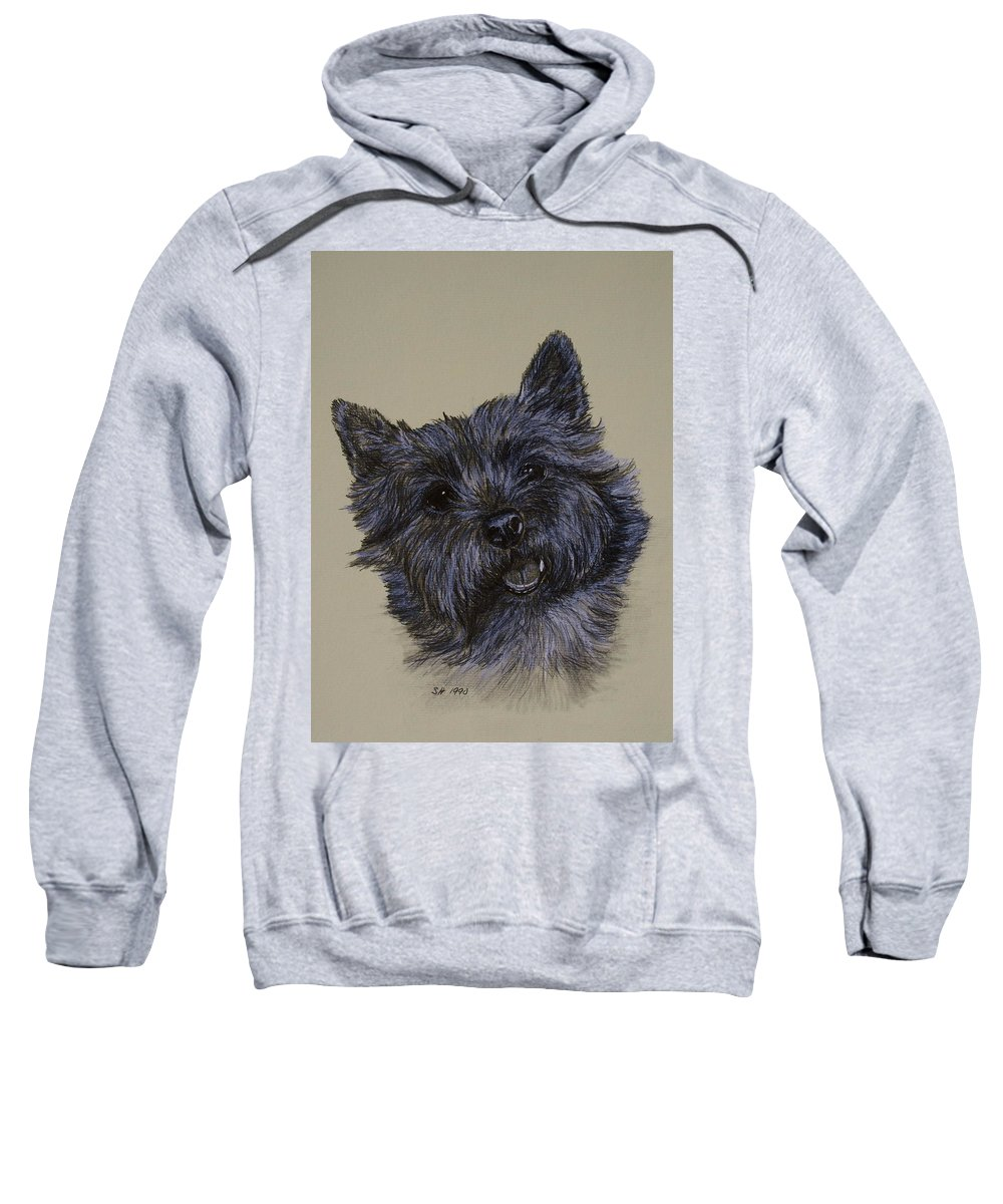 Cairn Sweatshirt featuring the drawing Cairn Terrier by Susan Herber