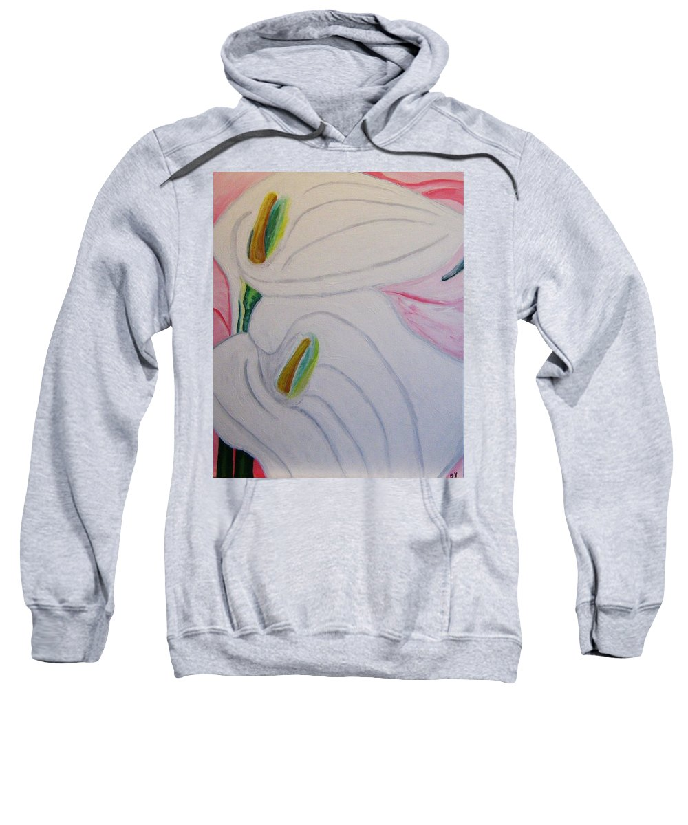 Impressionism Sweatshirt featuring the painting Cala Lillies by Barbara Yearty