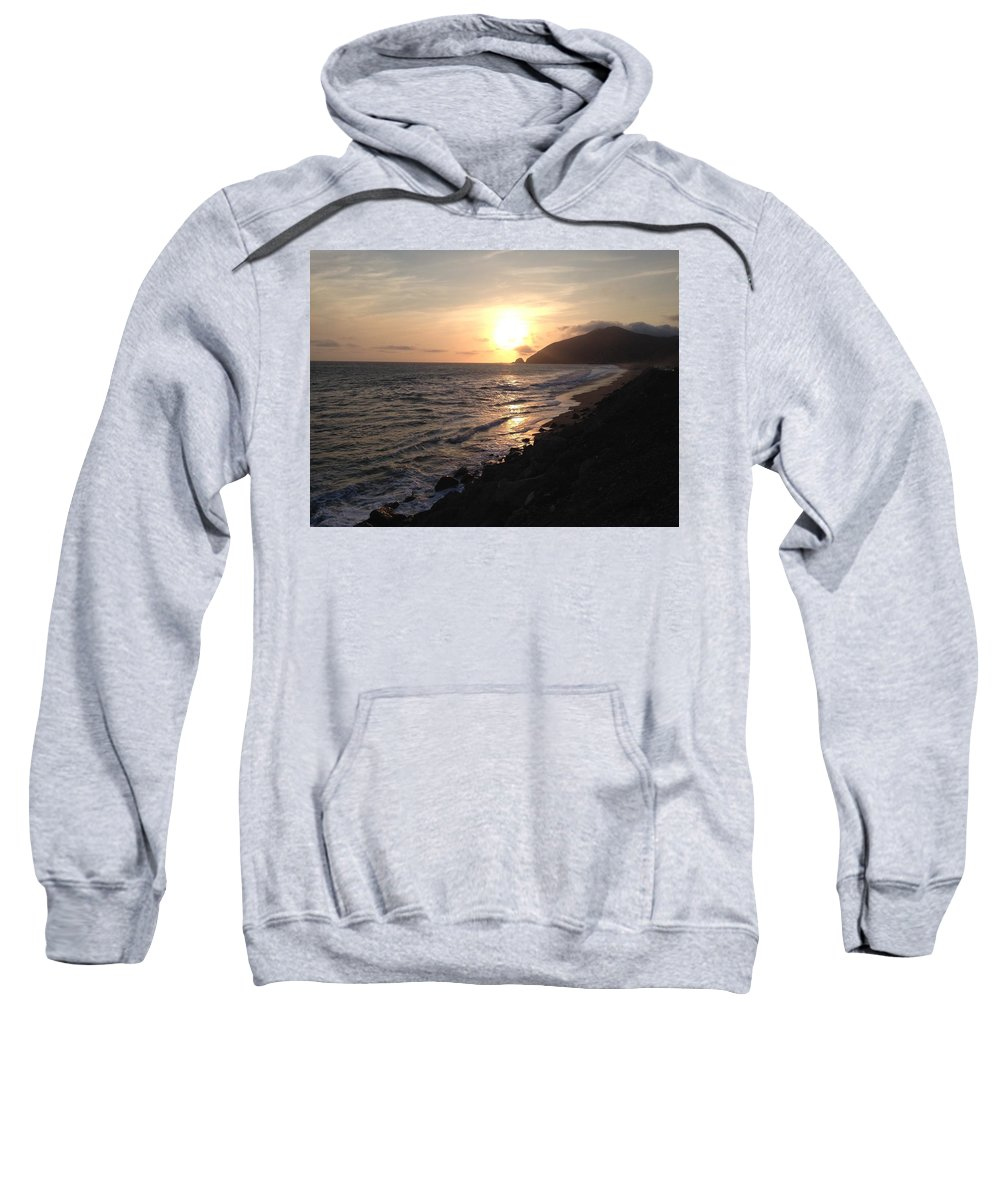 Sunset Sweatshirt featuring the painting California Coast Sunset At Dunes by Lorie Stevens