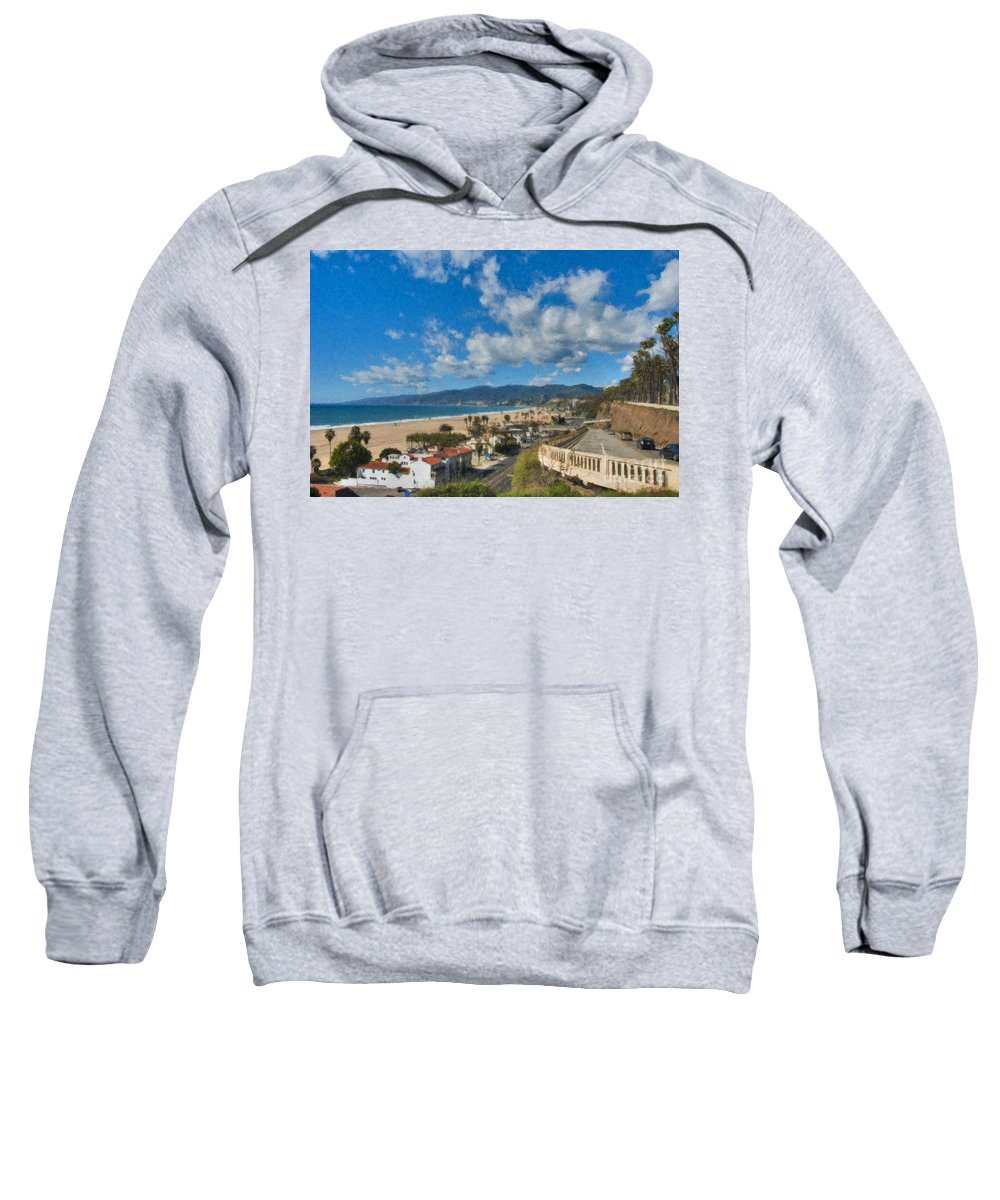 California Incline Palisades Park Ca Sweatshirt featuring the photograph California Incline Palisades Park Ca by David Zanzinger