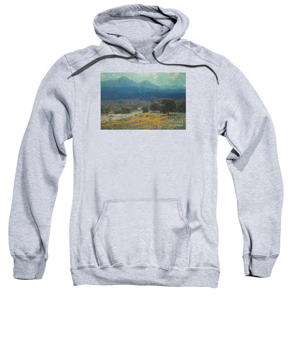 California Poppy Field Sweatshirt featuring the painting California Poppy Field by Celestial Images