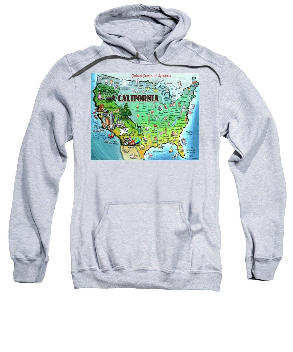 California Sweatshirt featuring the digital art California Usa by Kevin Middleton