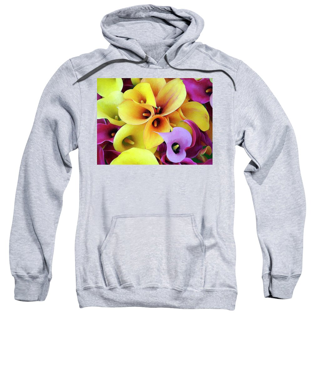 Flowers Sweatshirt featuring the painting Calla Lilies by Dominic Piperata
