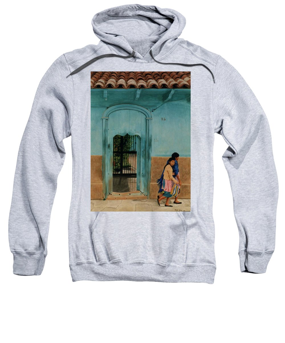 Hyperrealism Sweatshirt featuring the painting Calle Hermanos Dominquez by Michael Earney