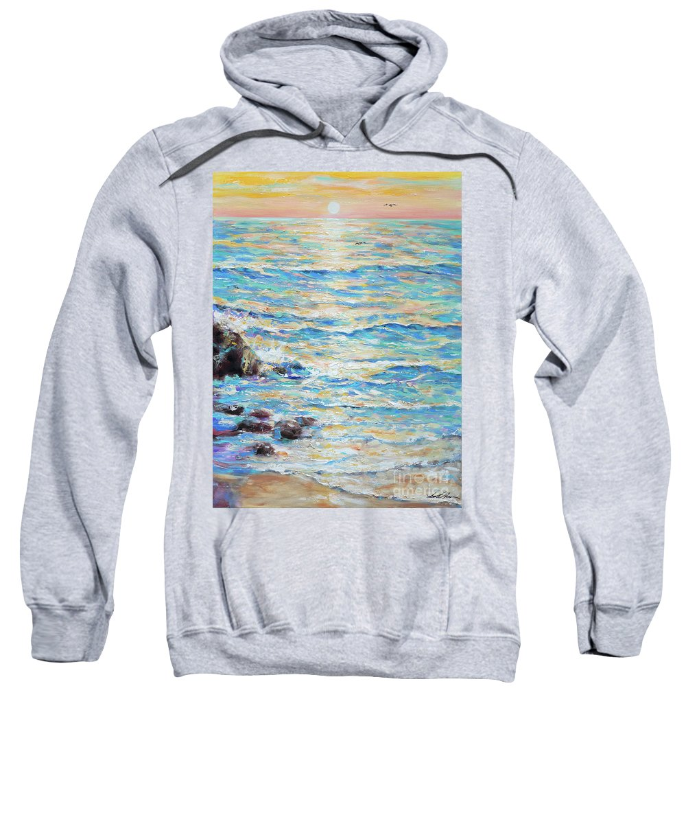 Ocean Sweatshirt featuring the painting Cambria Rocks by Linda Olsen