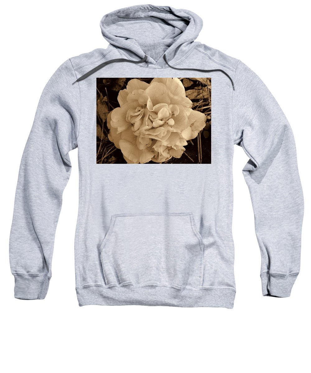 Camellia Sweatshirt featuring the photograph Camellia Sepia by Susanne Van Hulst