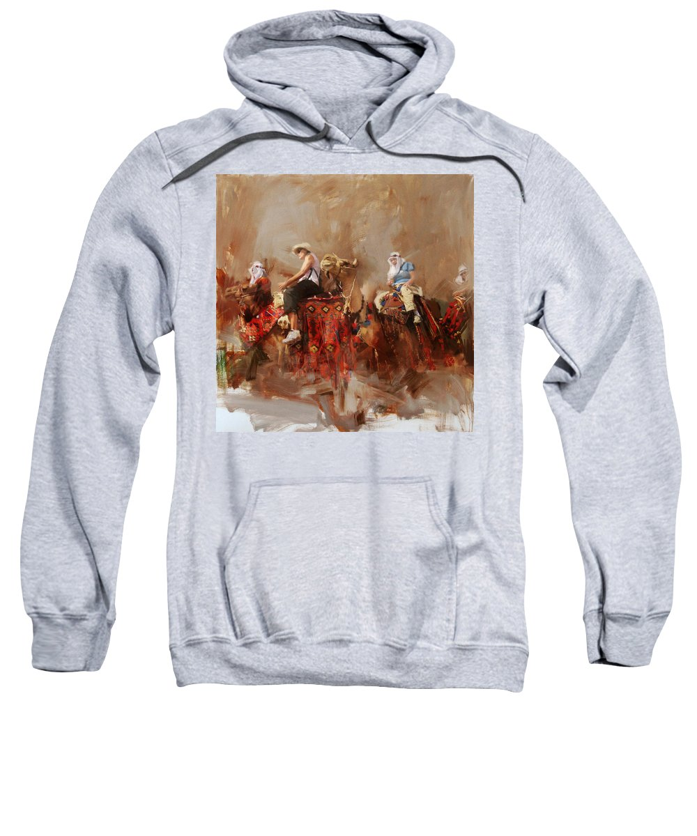 Fujairah Fort Sweatshirt featuring the painting Camels And Desert 14 by Mahnoor Shah