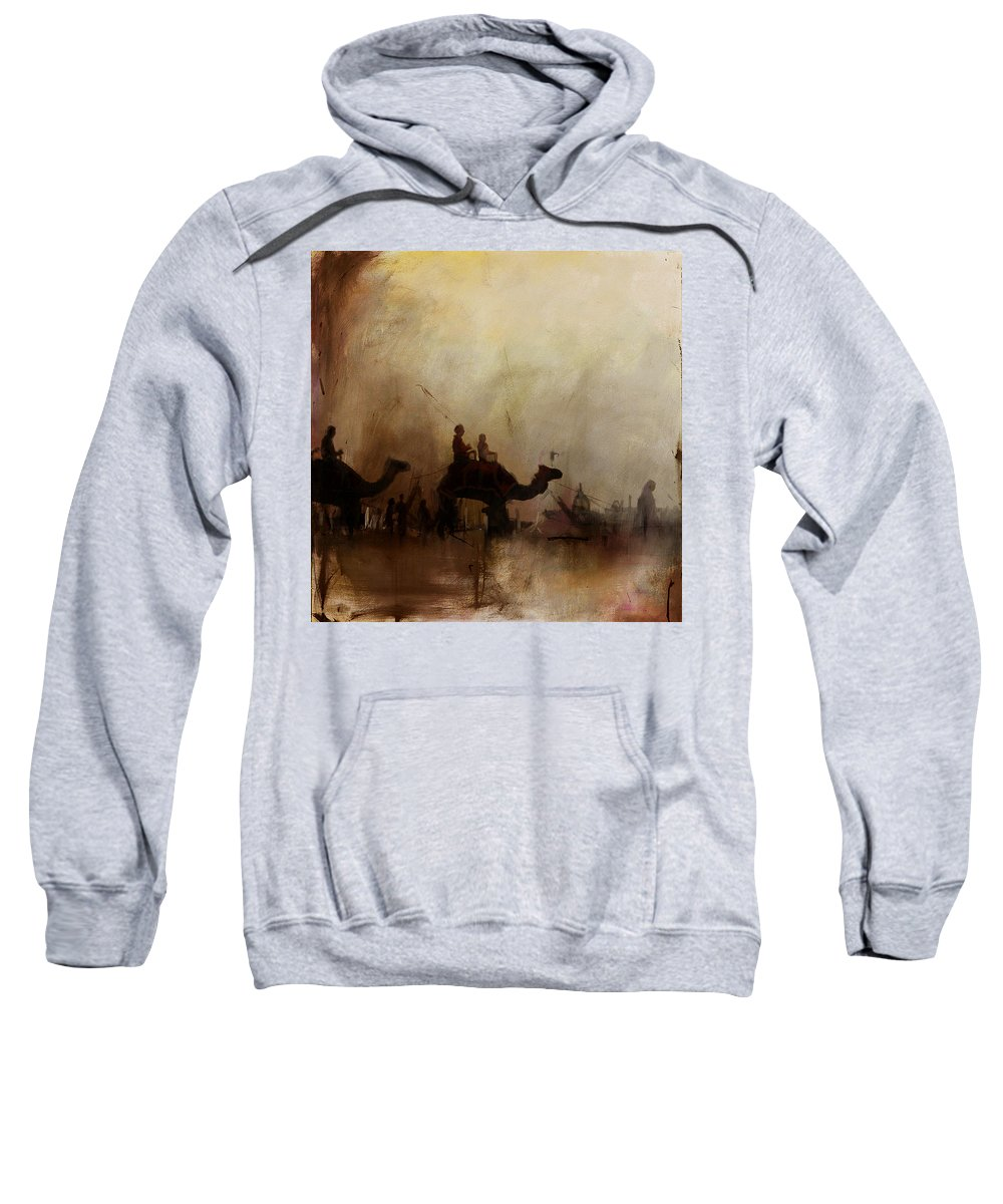 Fujairah Fort Sweatshirt featuring the painting Camels And Desert 18 by Mahnoor Shah