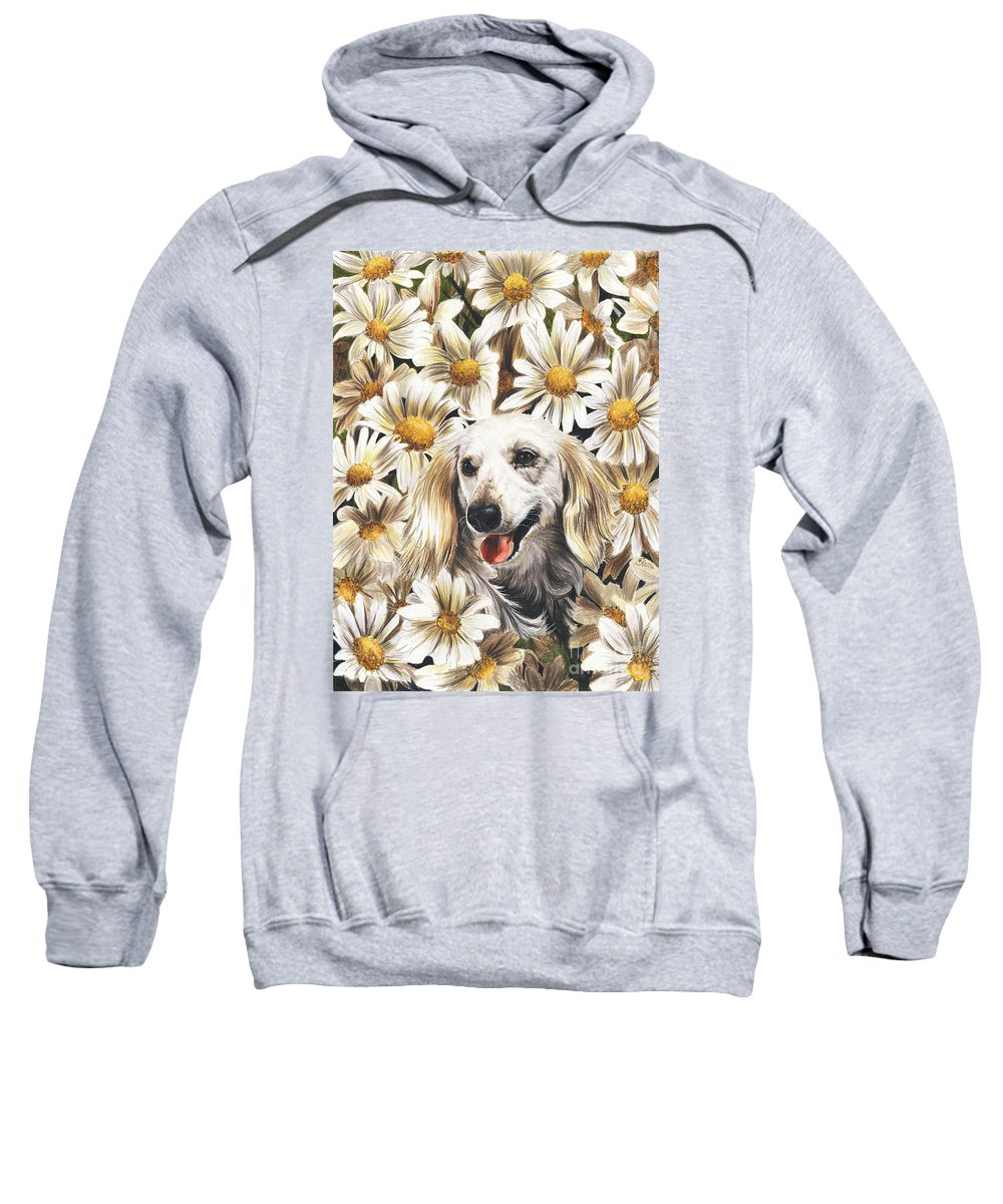 Dachshund Sweatshirt featuring the drawing Camoflaged by Barbara Keith