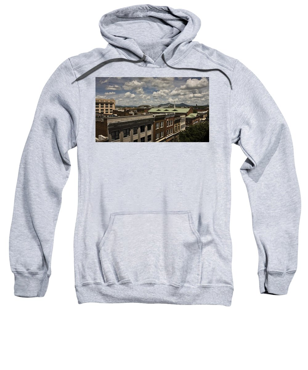 Cityscape Sweatshirt featuring the photograph Campbell Avenue Rooftops Roanoke Virginia by Teresa Mucha