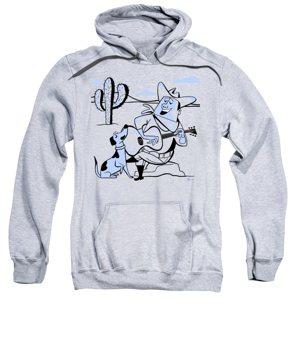 Cowboy Sweatshirt featuring the painting Campfire Cowboy Song by Little Bunny Sunshine