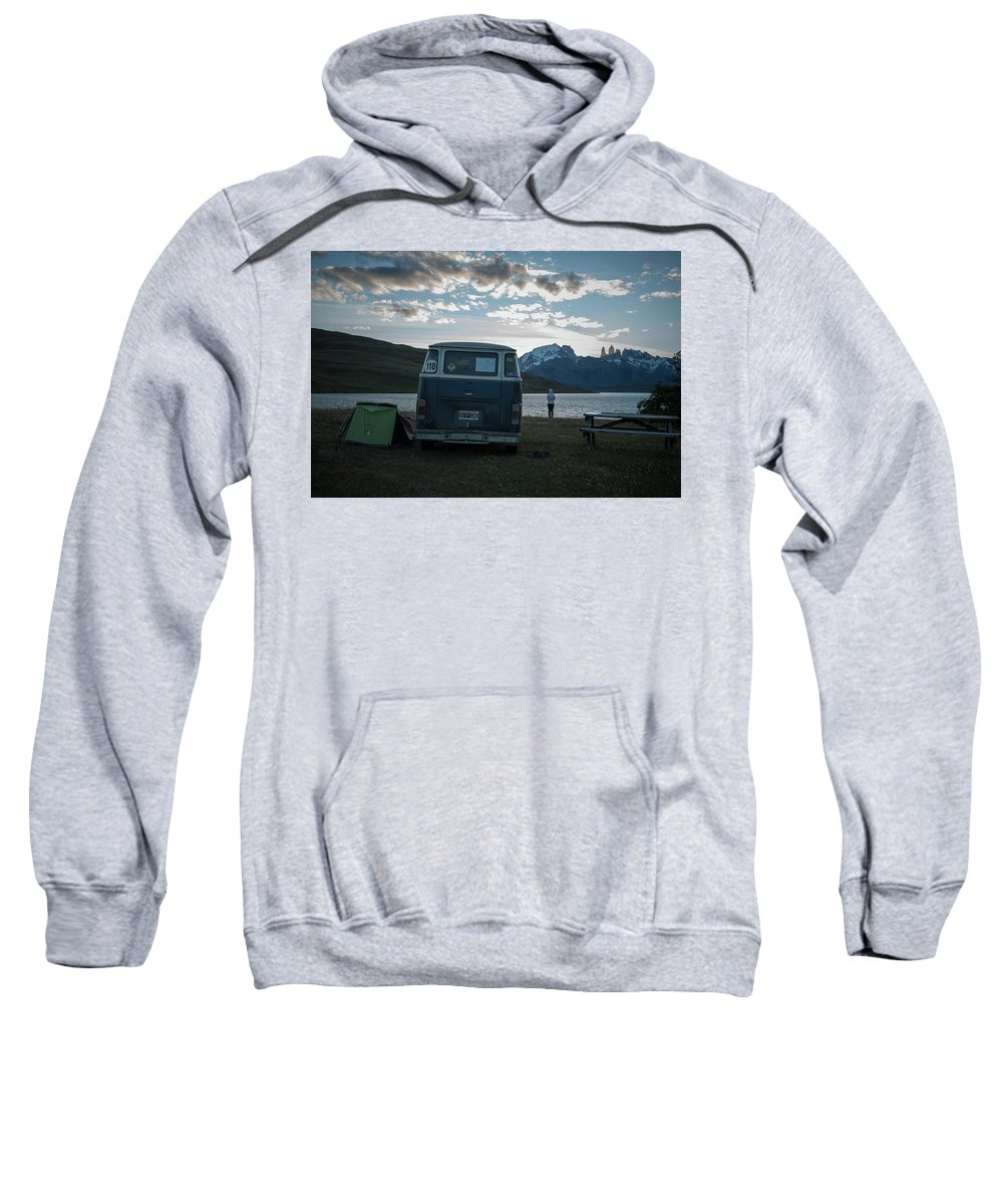 Automobile Sweatshirt featuring the photograph Camping At Torres Del Paine by Fausto Capellari