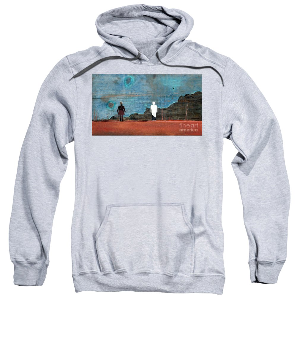 Figures Sweatshirt featuring the mixed media Can I See You by Jane Clatworthy
