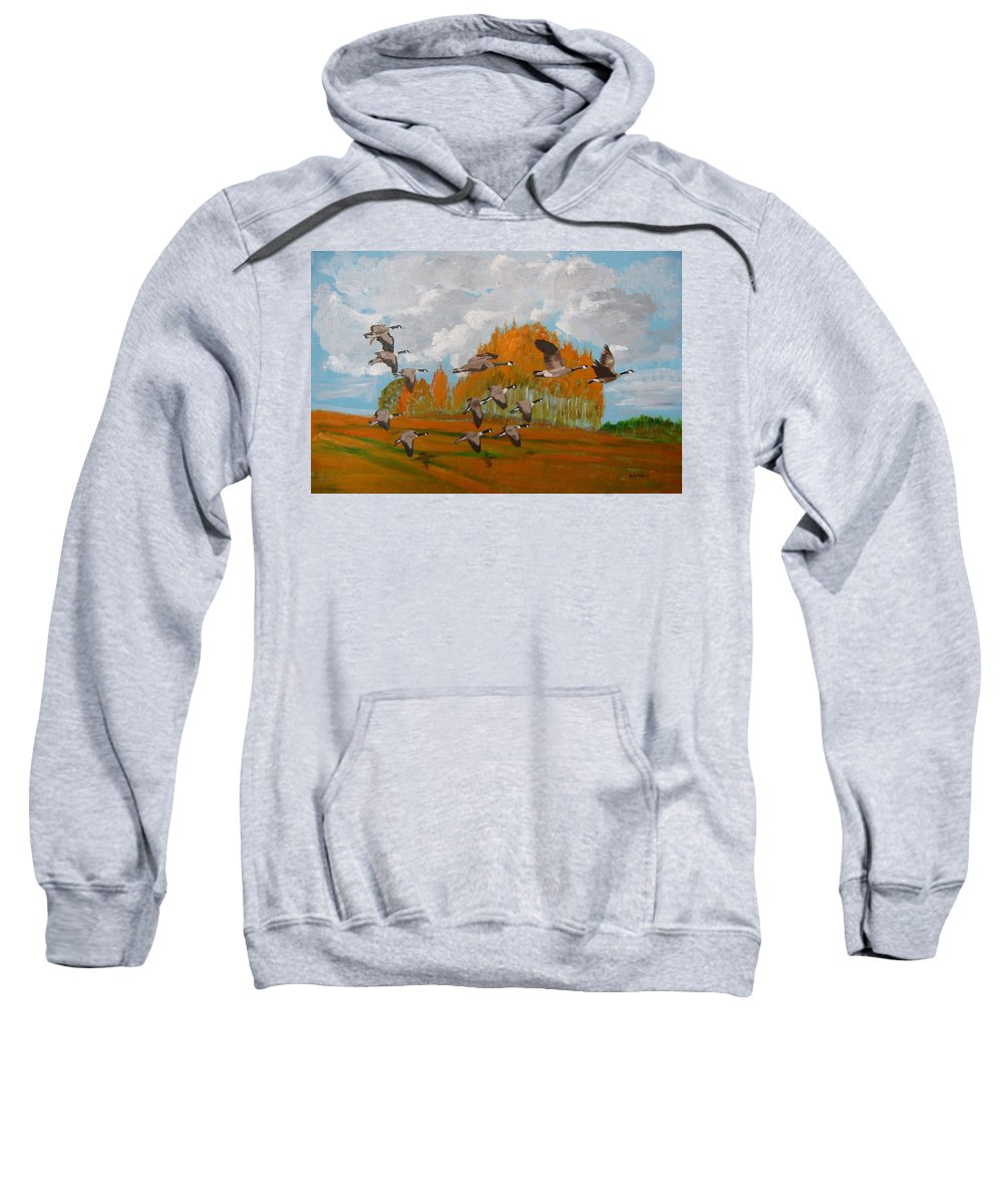 Canadian Geese Sweatshirt featuring the painting Canadian Geese by Richard Le Page