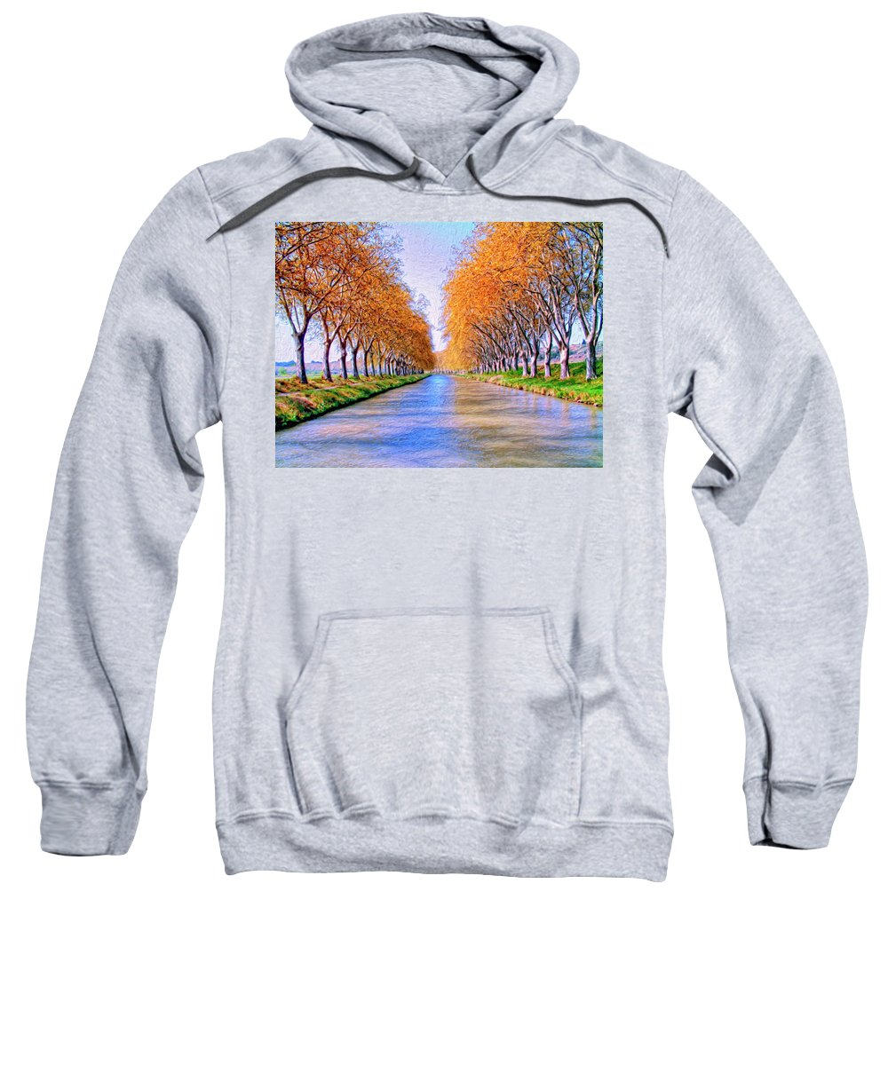 Canal Sweatshirt featuring the painting Canal Du Midi by Dominic Piperata