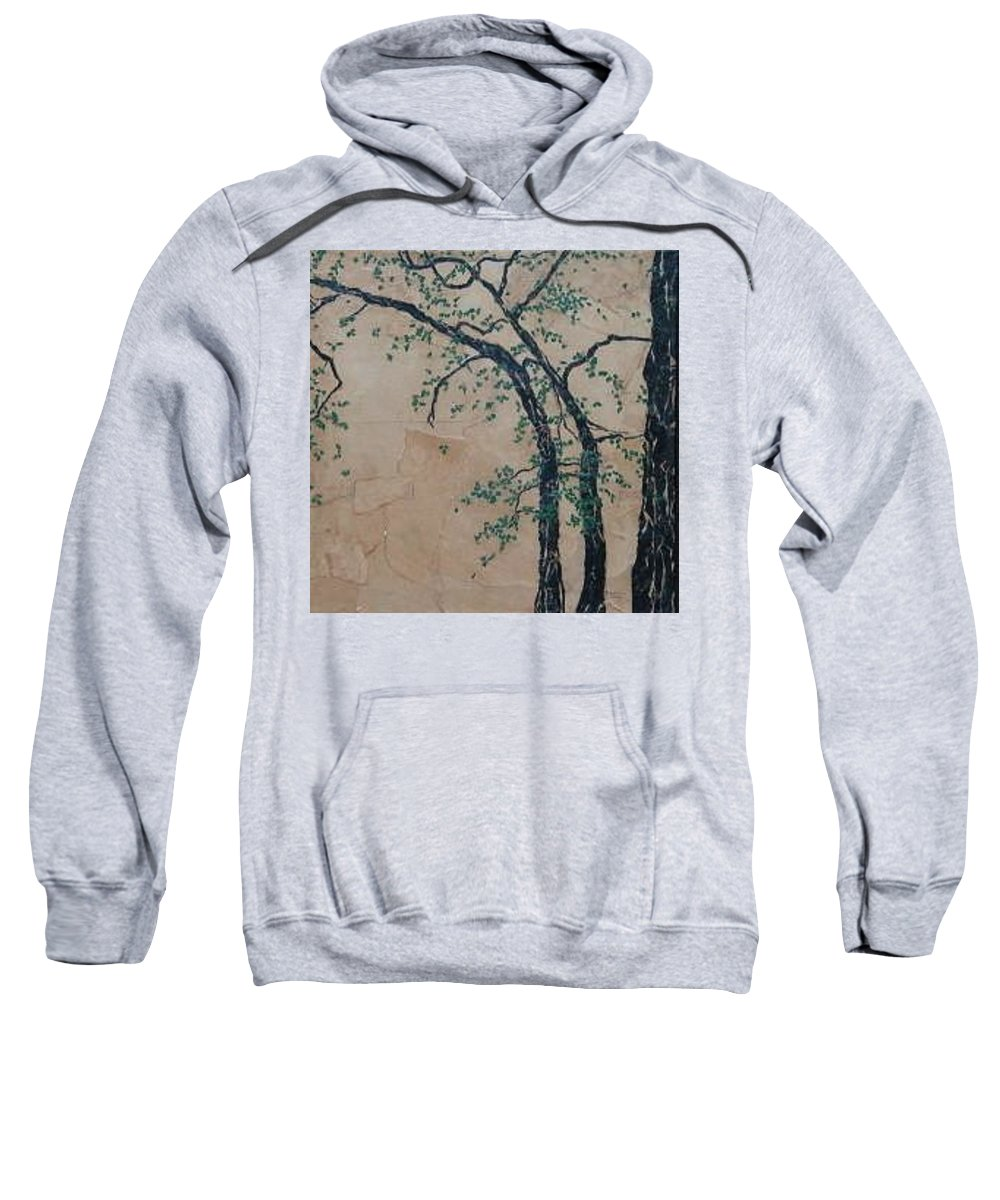 Leafy Tree Sweatshirt featuring the painting Canandaigua Lake by Leah Tomaino