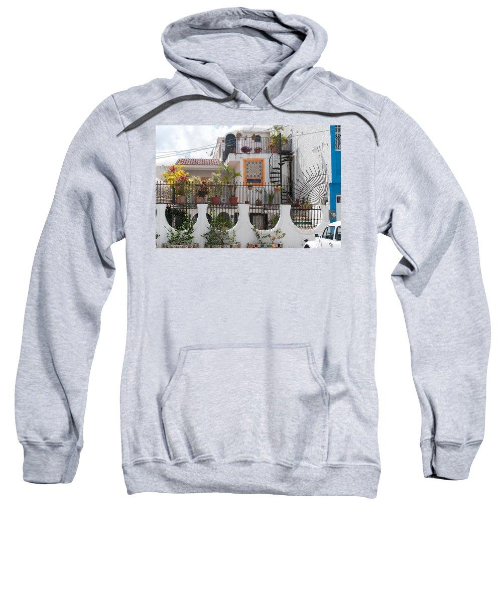 Beach Scenes Sweatshirt featuring the digital art Cancun City Scenes by Carol Ailles