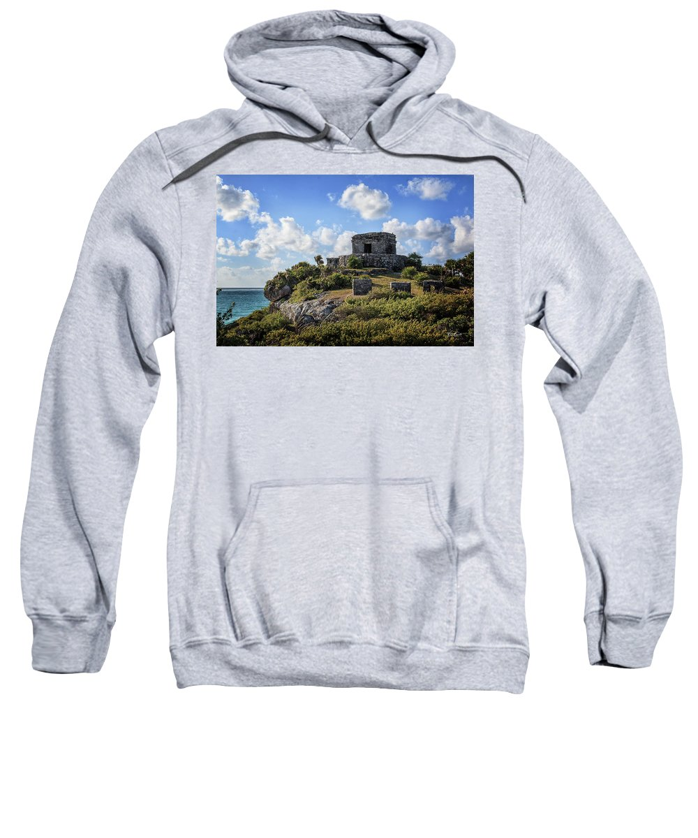 Cancun Sweatshirt featuring the photograph Cancun Mexico - Tulum Ruins - Temple For God Of The Wind 2 by Ronald Reid