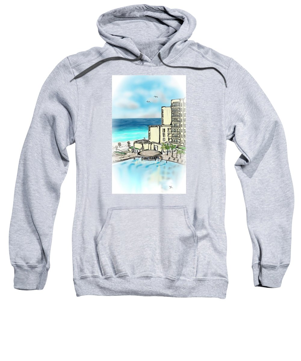 Tropical Sweatshirt featuring the digital art Cancun Royal Sands by Darren Cannell