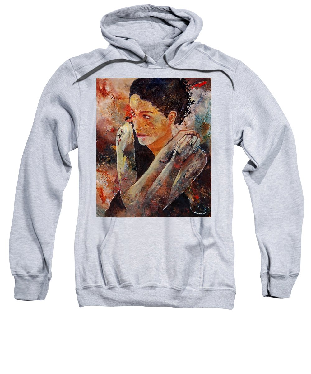 Figurative Sweatshirt featuring the painting Candid Eyes by Pol Ledent