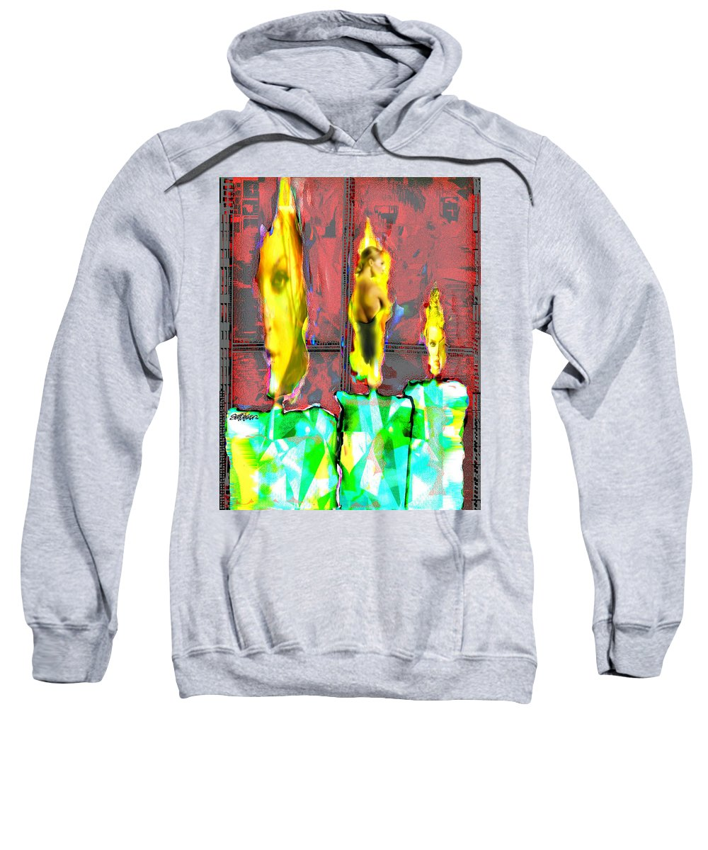 Candle Sweatshirt featuring the digital art Candle In The Window by Seth Weaver