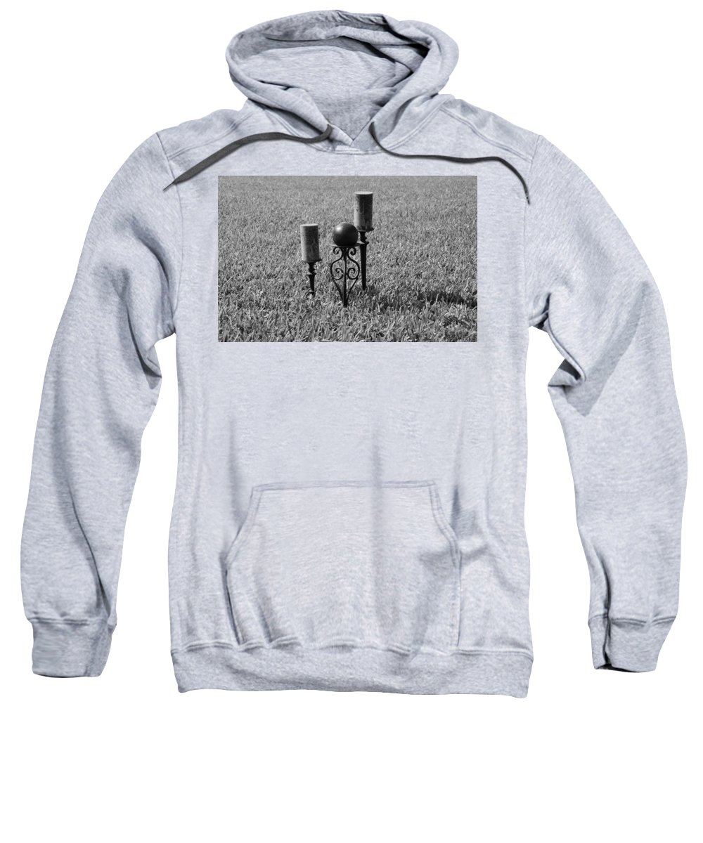Black And White Sweatshirt featuring the photograph Candles In Grass by Rob Hans