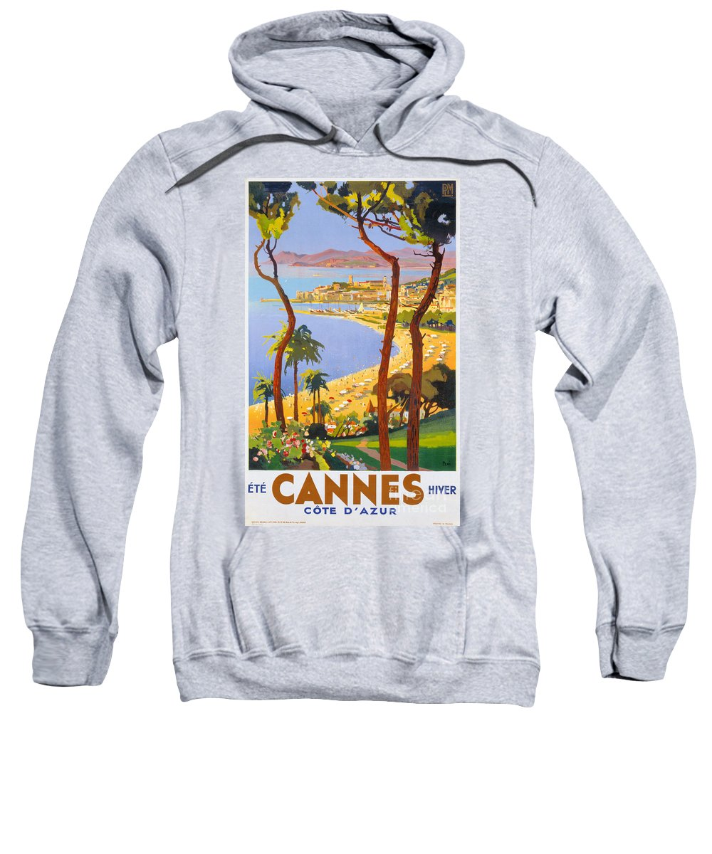 Cannes Sweatshirt featuring the painting Cannes Vintage Travel Poster by Vintage Treasure