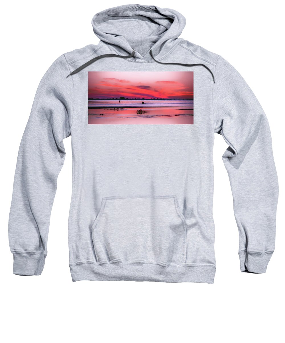 Canoe Sweatshirt featuring the photograph Canoeing On Color by Michael Frizzell
