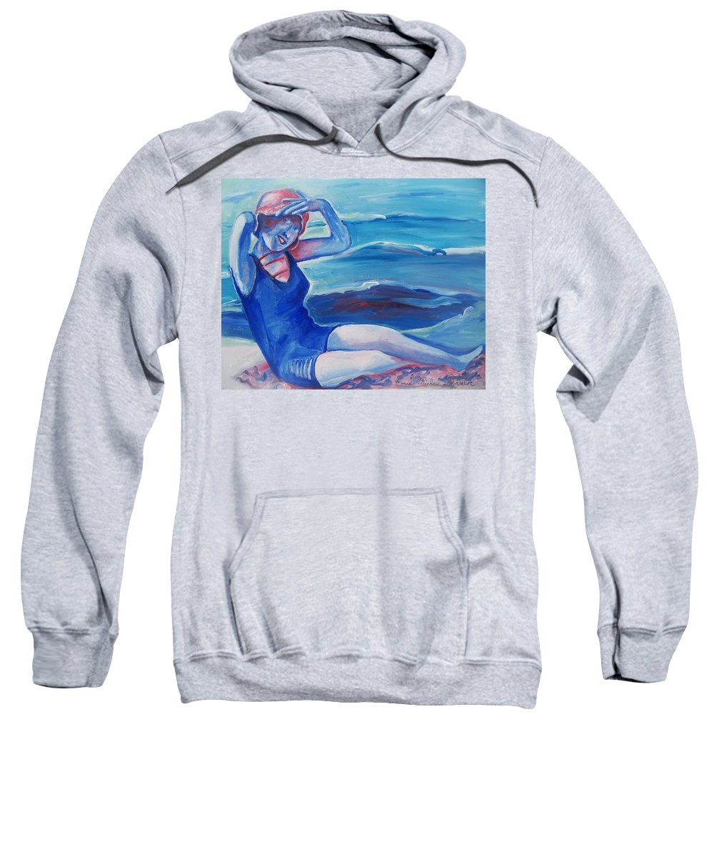 Beach Sweatshirt featuring the painting Cape May 1920s Girl by Eric Schiabor