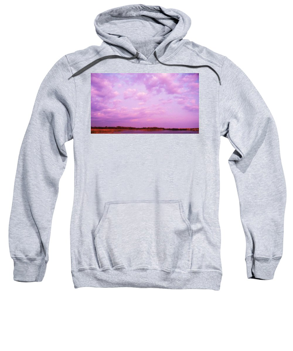Cape May Point Nj Sweatshirt featuring the painting Cape May Point State Park Lanscape And Clouds by Eric Schiabor