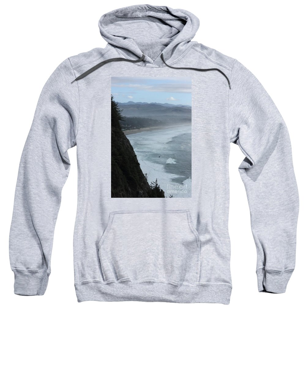 Cape Meares Sweatshirt featuring the photograph Cape Meares Coastline by Tanya Shockman