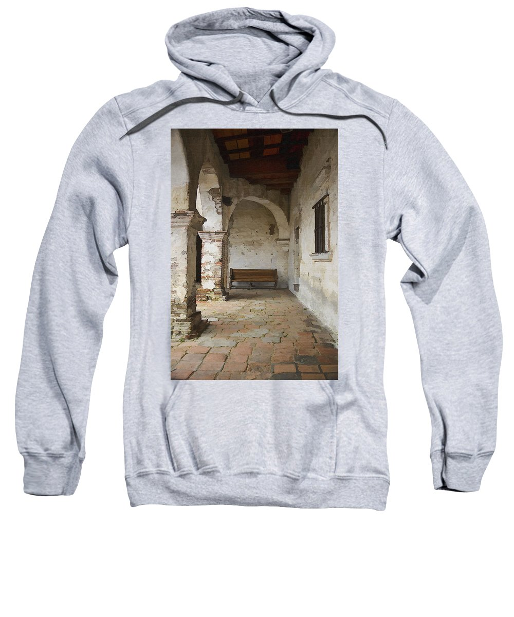 Mission Sweatshirt featuring the photograph Capistrano Bench by Sharon Foster