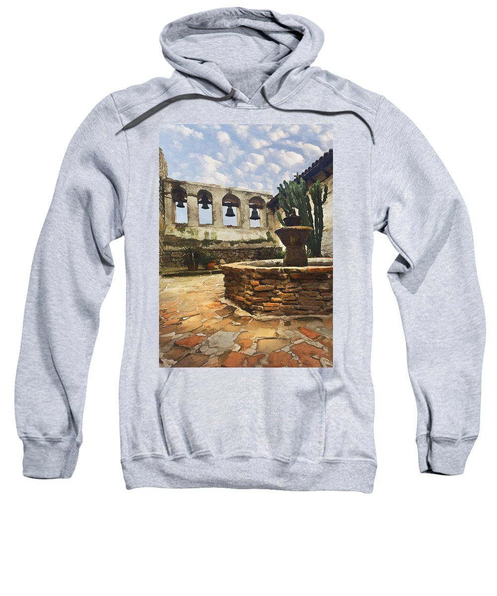 Mission Sweatshirt featuring the photograph Capistrano Fountain by Sharon Foster