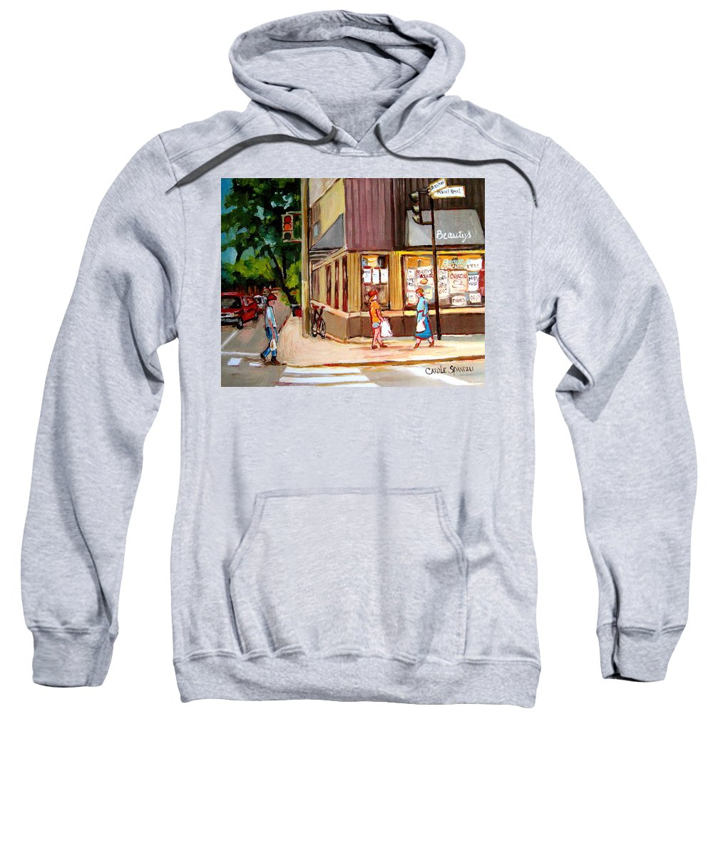 Cafes Sweatshirt featuring the painting Cappucino Cafe At Beauty's Restaurant by Carole Spandau