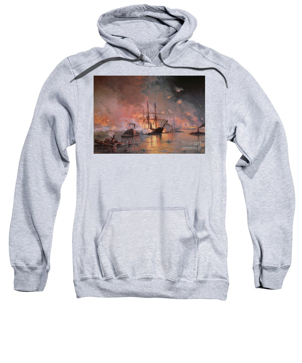 Capture Of New Orleans By Union Flag Officer David G. Farragut Sweatshirt featuring the painting Capture Of New Orleans By Union Flag Officer David G Farragut by Julian Oliver Davidson