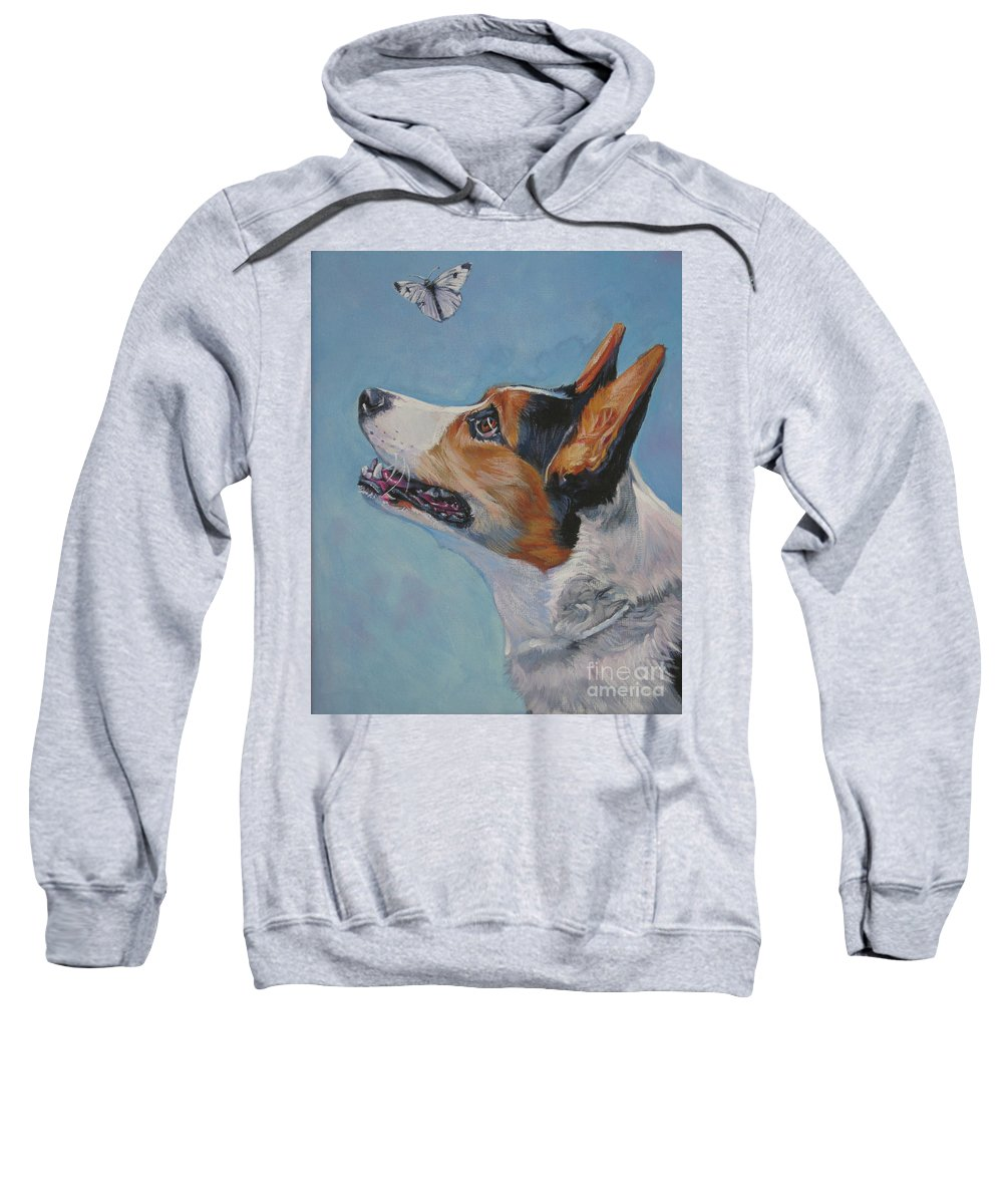 Cardigan Welsh Corgi Sweatshirt featuring the painting Cardigan Welsh Corgi by Lee Ann Shepard
