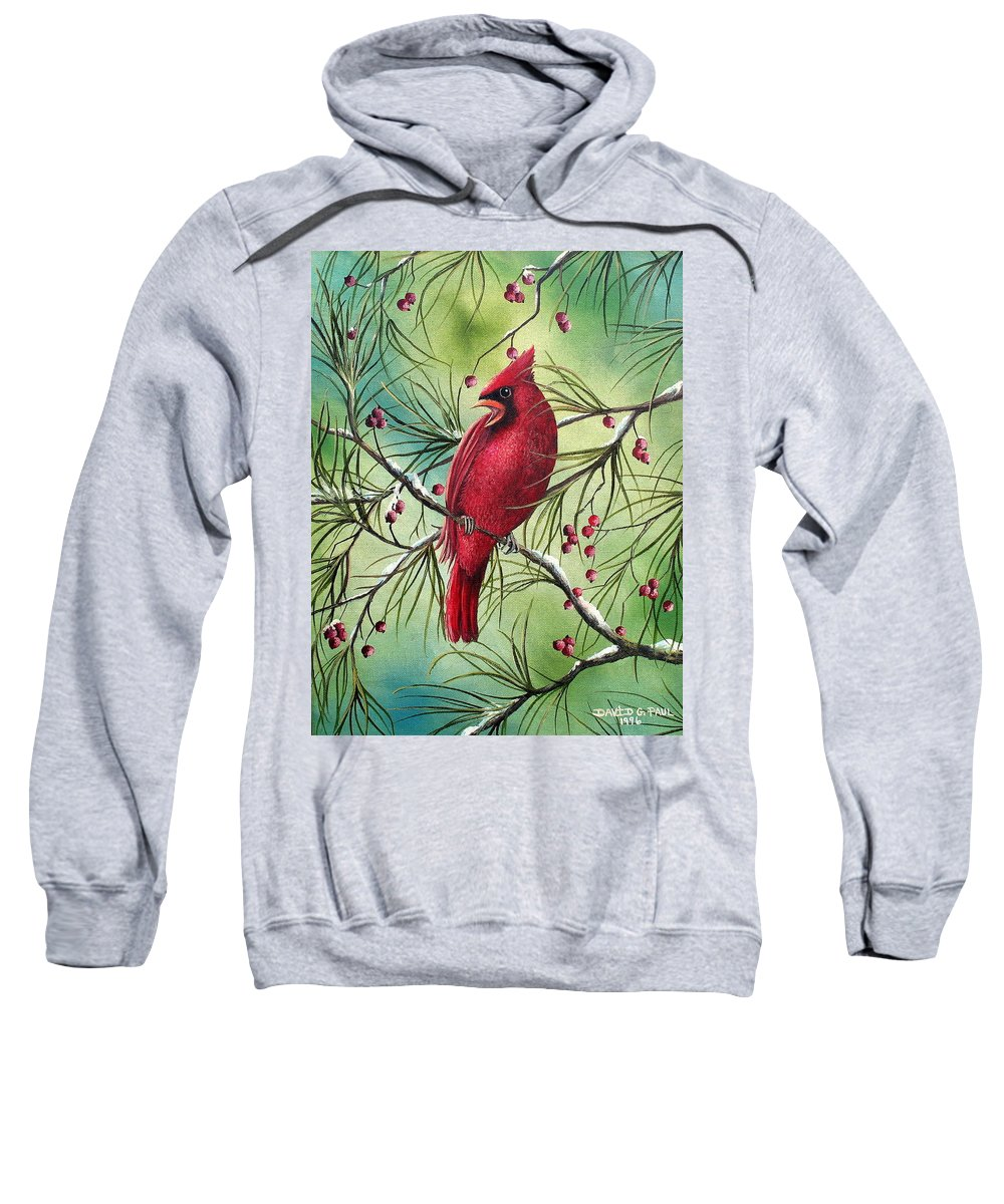 Cardinal Sweatshirt featuring the painting Cardinal by David G Paul