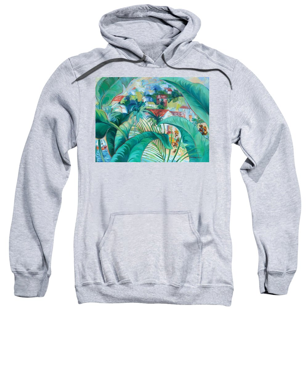 Caribbean Figures Sweatshirt featuring the painting Caribbean Fantasy by Dianna Willman