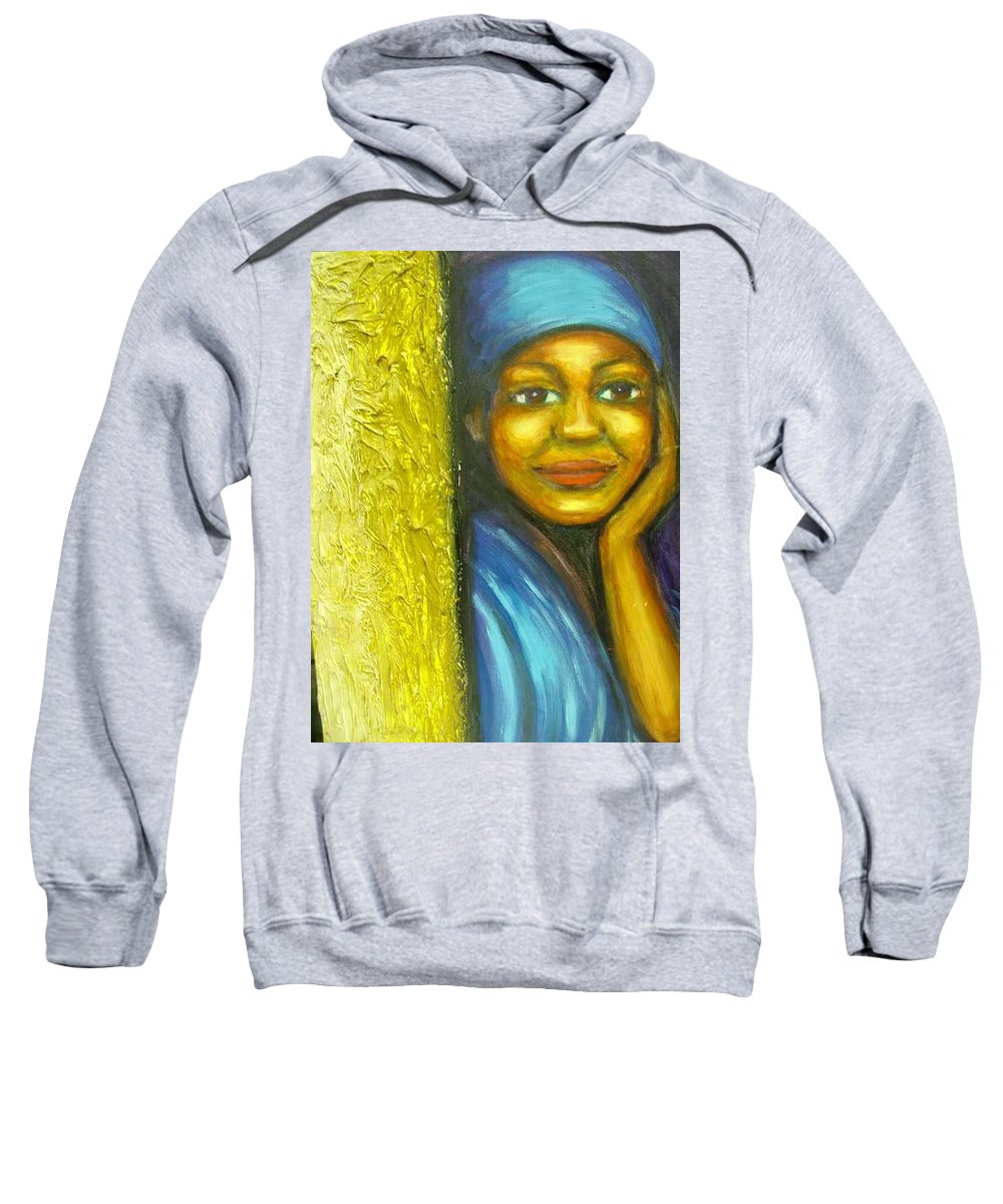 Sweatshirt featuring the painting Caribbean Mystery Lady by Jan Gilmore