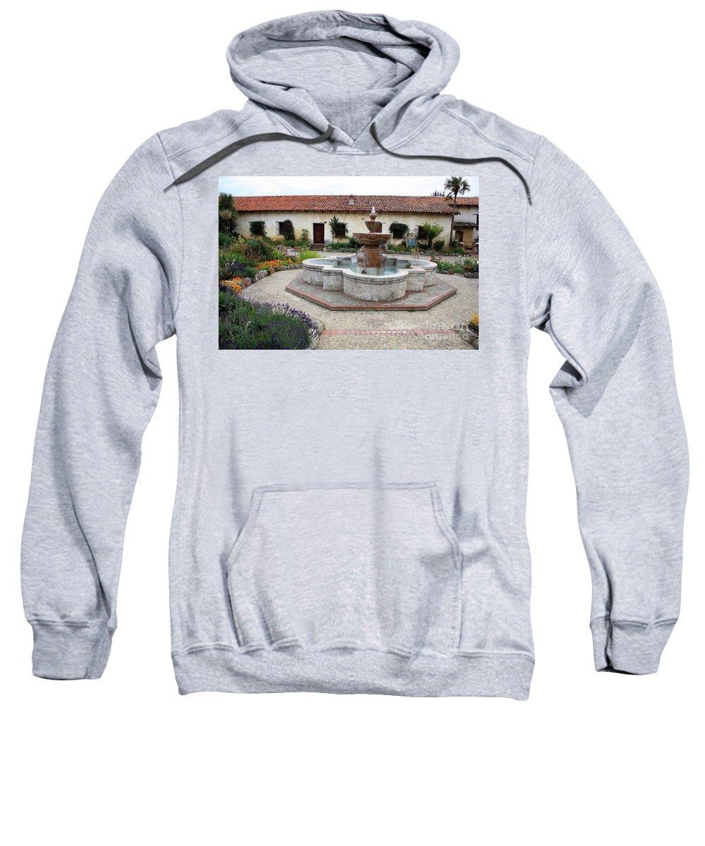 Catholic Sweatshirt featuring the photograph Carmel Mission Courtyard by Carol Groenen