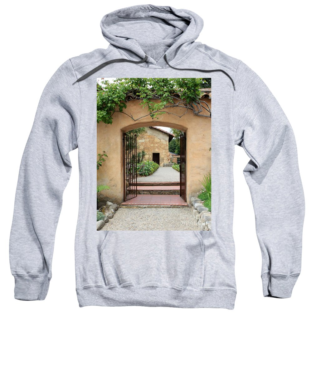 Carmel Mission Sweatshirt featuring the photograph Carmel Mission Path by Carol Groenen
