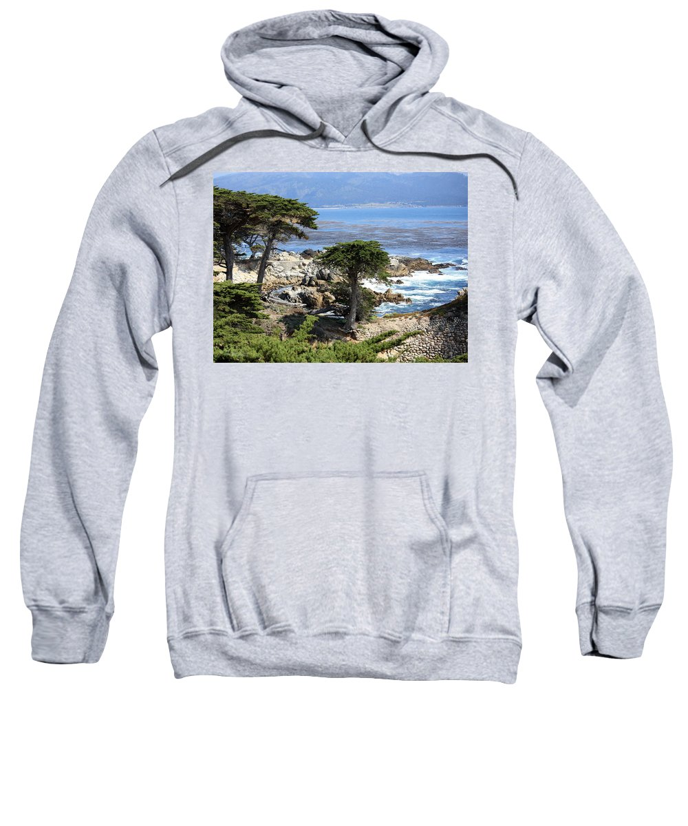 California Sweatshirt featuring the photograph Carmel Seaside With Cypresses by Carol Groenen