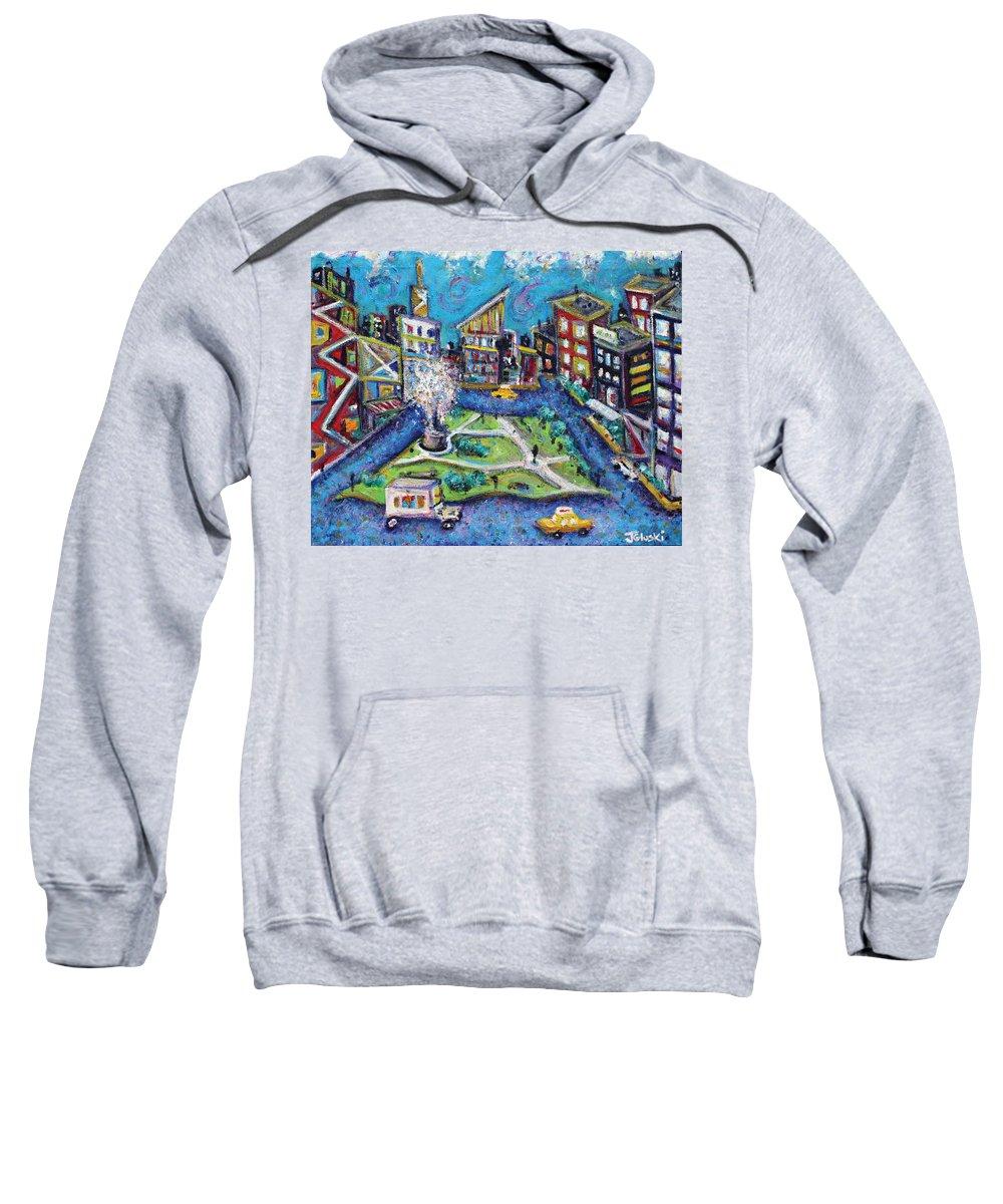 New York City Sweatshirt featuring the painting Carmine Street by Jason Gluskin
