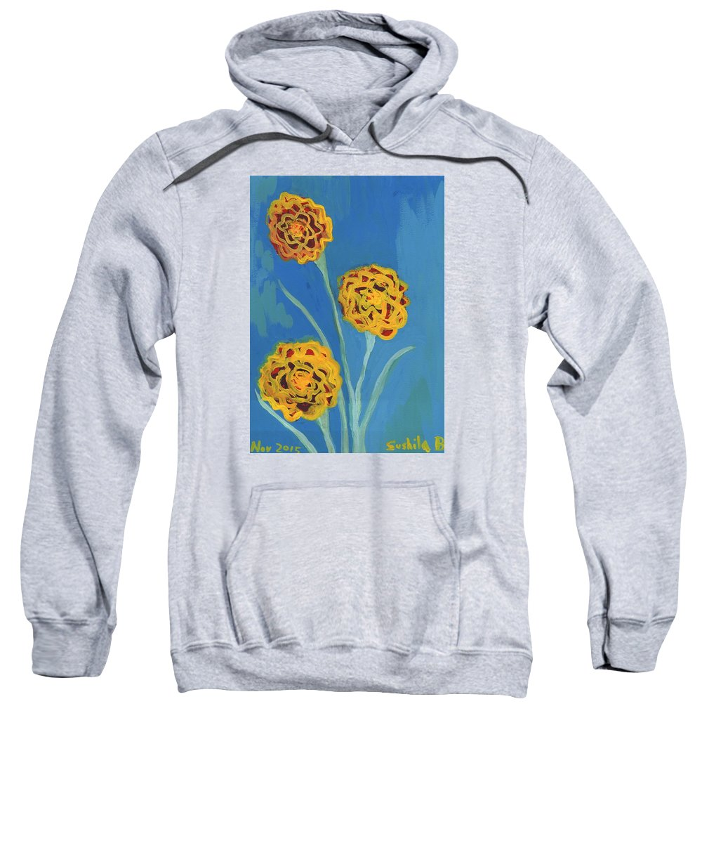 Carnations Sweatshirt featuring the painting Carnations Against A Summer Sky by Sushila Burgess