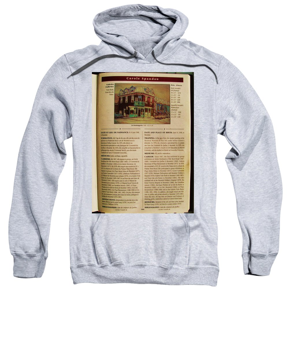 Sweatshirt featuring the painting Carole Spandau Listed In The Guide Vallee Peintures Quebecois 1993-1994 Edition by Carole Spandau