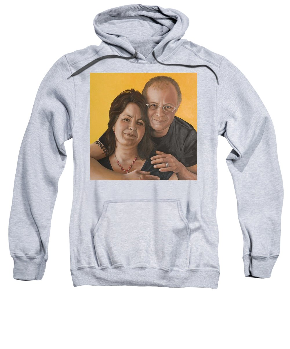 Portrait Sweatshirt featuring the painting Caroline And Rob by Rob De Vries